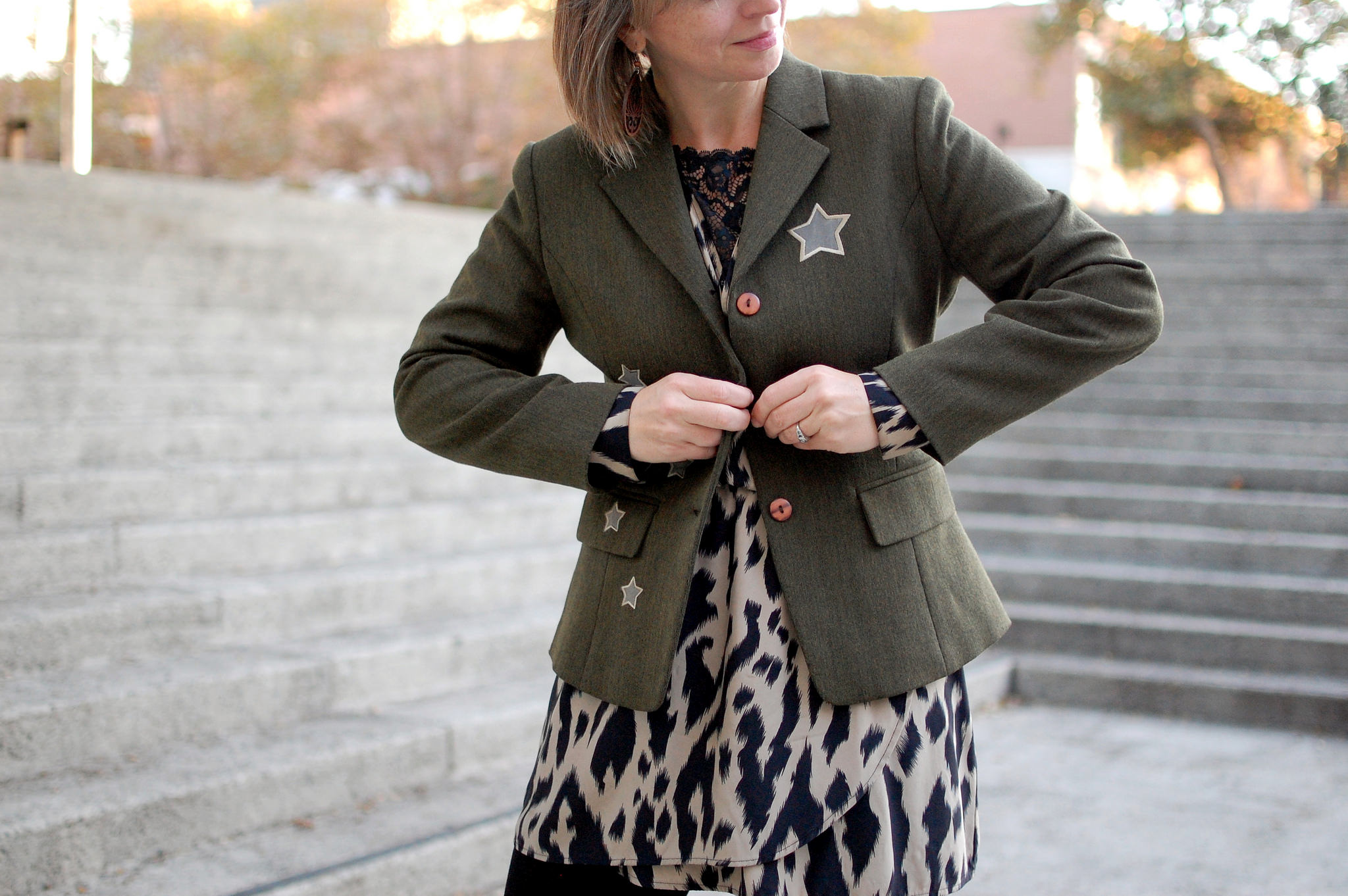 olive military star patch blazer ootd daily outfit blog whatiwore2day