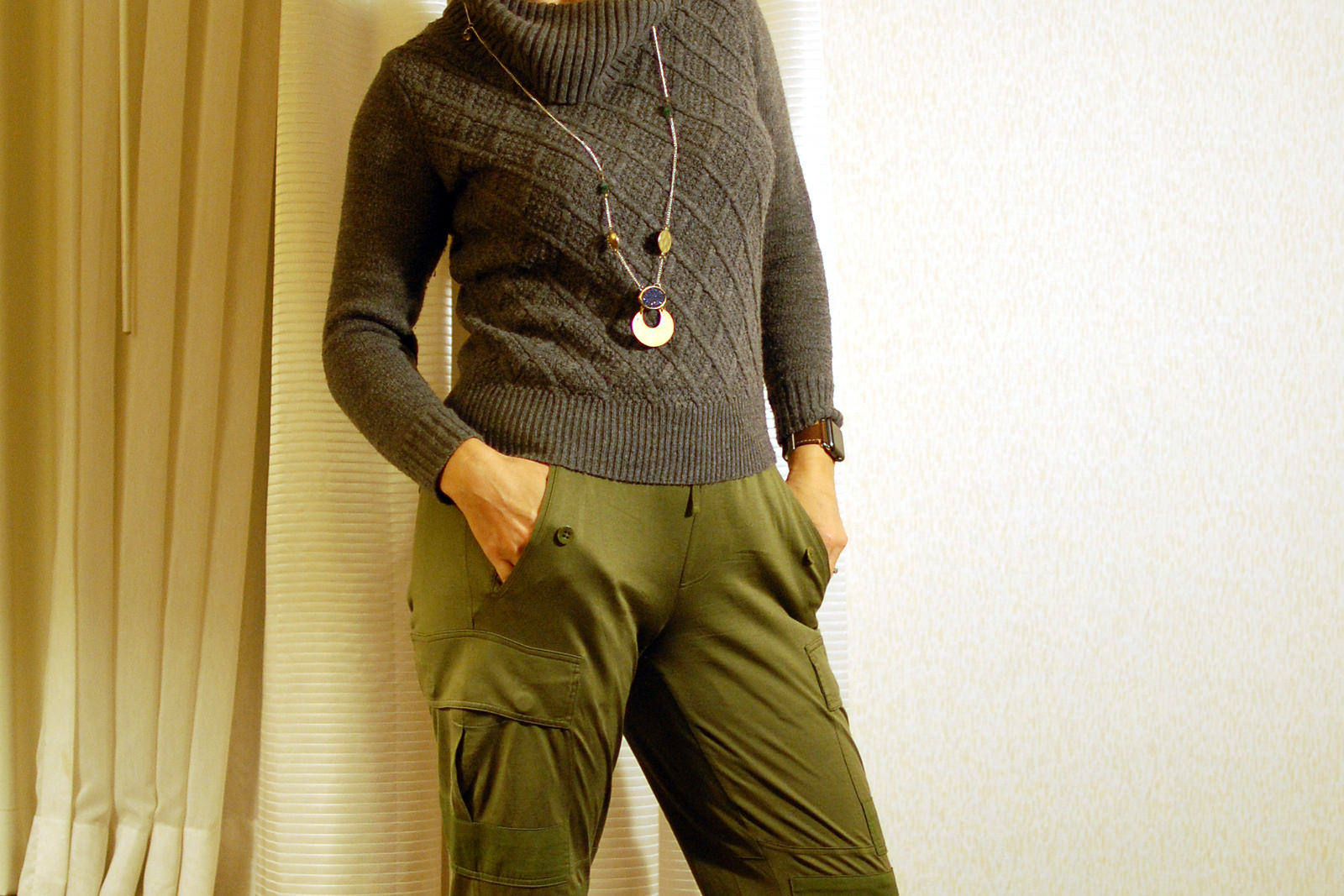 silk military joggers gray cowl neck sweater daily outfit blog ootd whatiwore2day