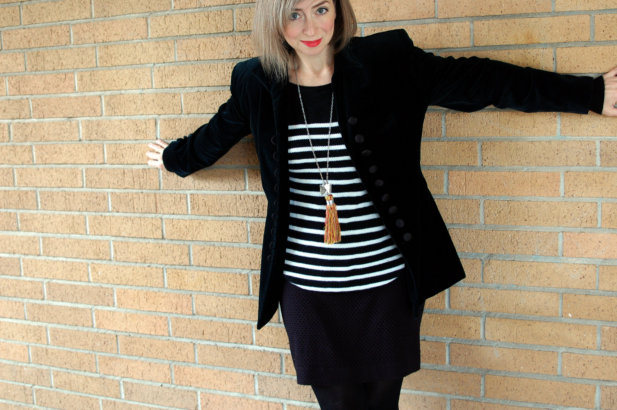 velvet blazer black white striped sweater daily outfit blog ootd whatiwore2day