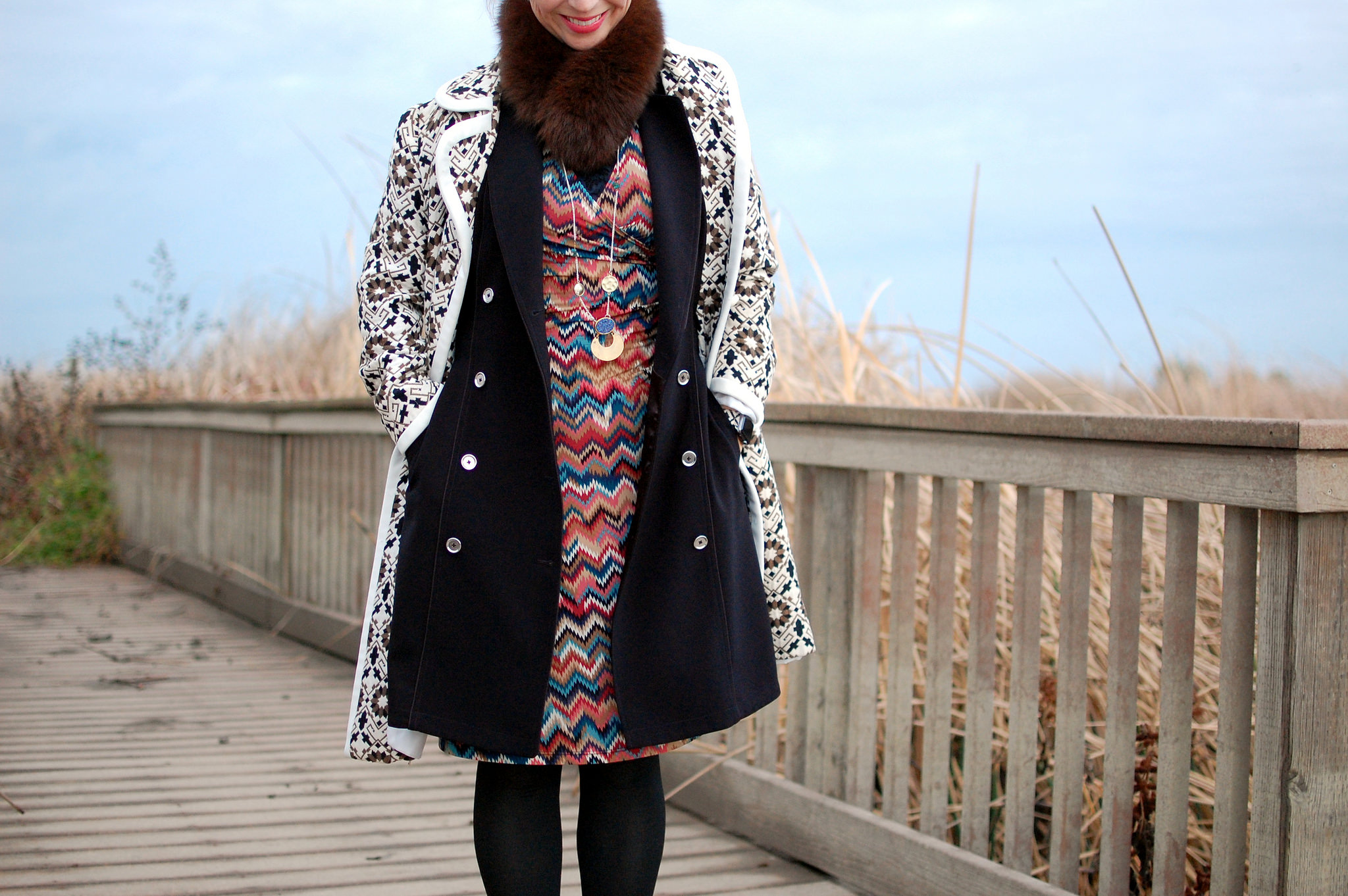 vintage coat trench vest missoni knockoff fur scarf daily outfit blog ootd whatiwore2day