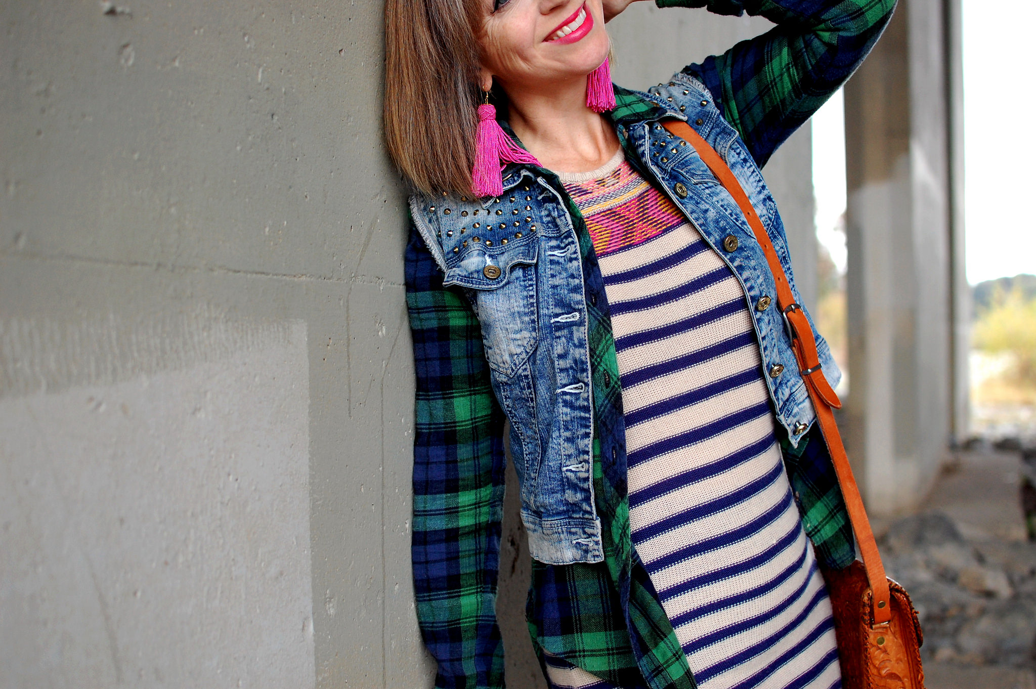 striped tunic plaid flannel denim vest daily outfit blot whatiwore2day ootd