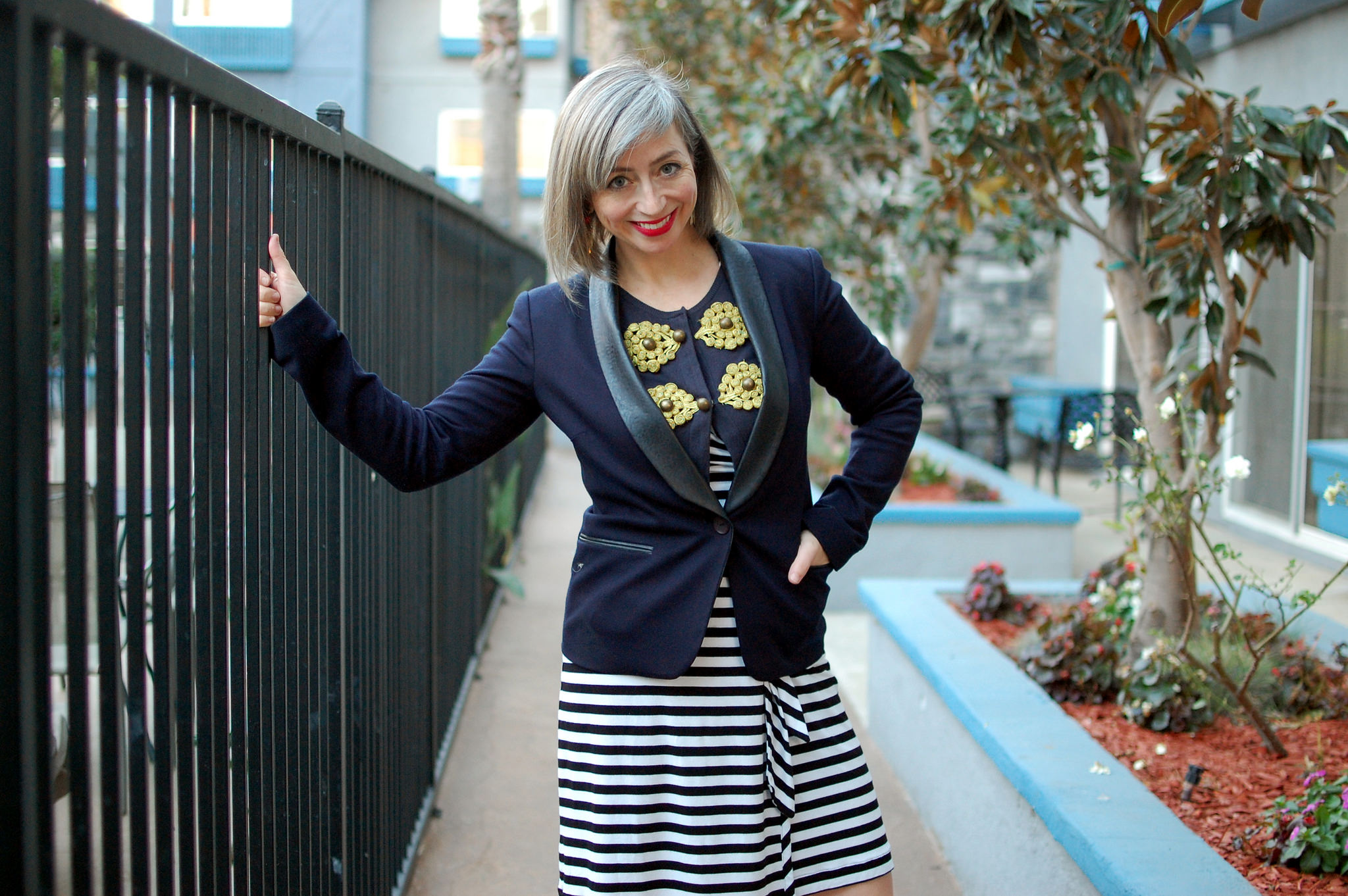 black and navy striped wrap dress daily outfit blog nautical ootd