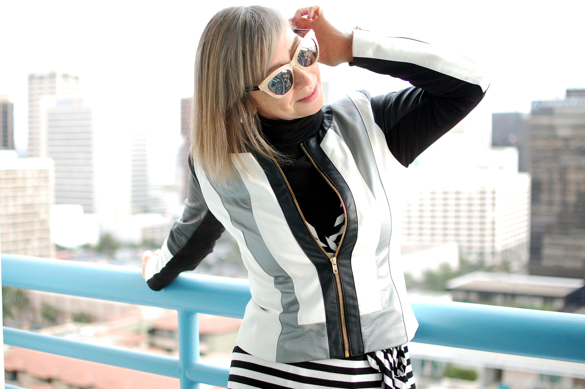striped moto jacket black turtleneck daily outfit blog whatiwore2day ootd striped wrap dress