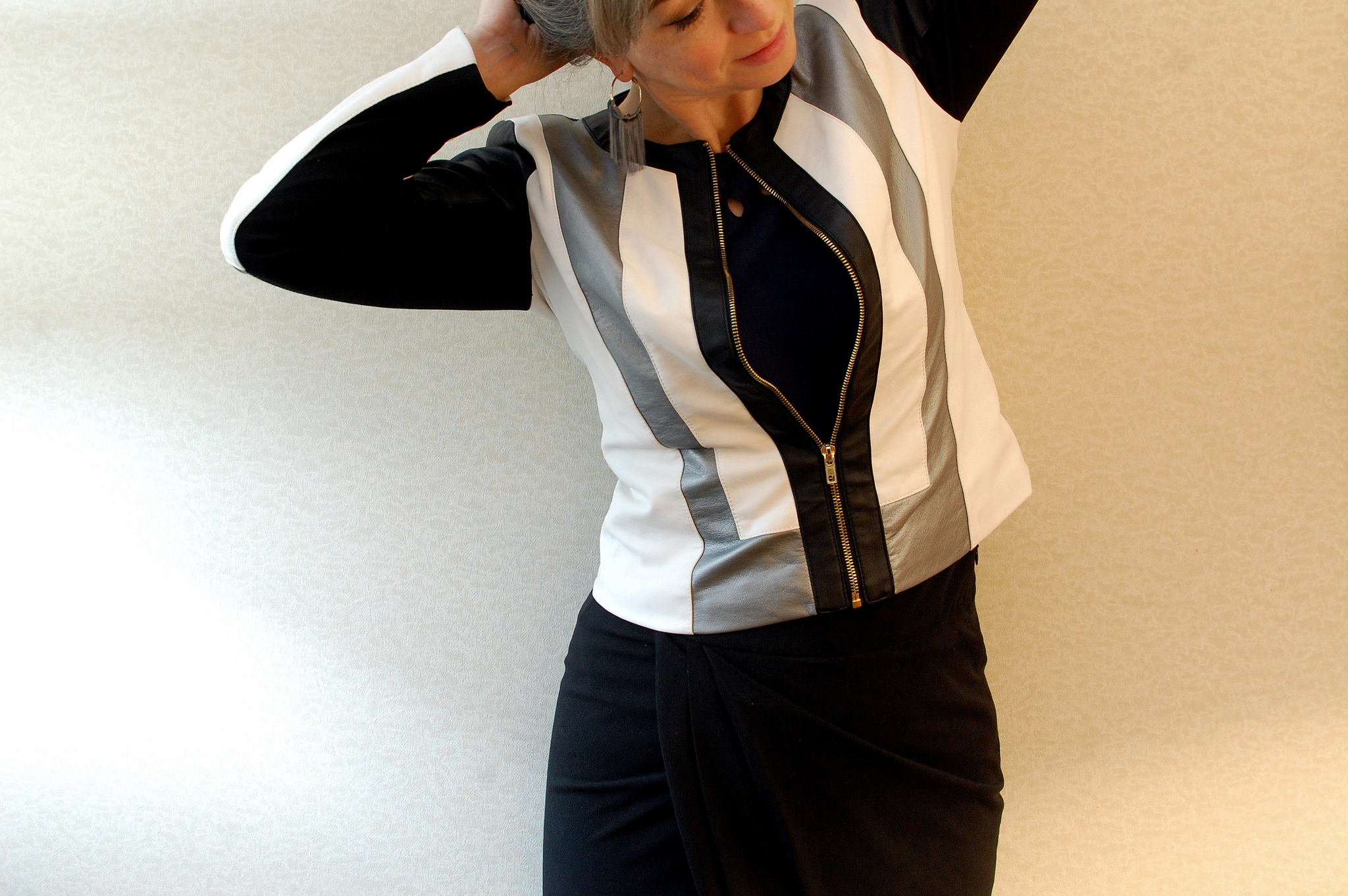 striped moto jacket daily outfit blog whatiwore2day ootd