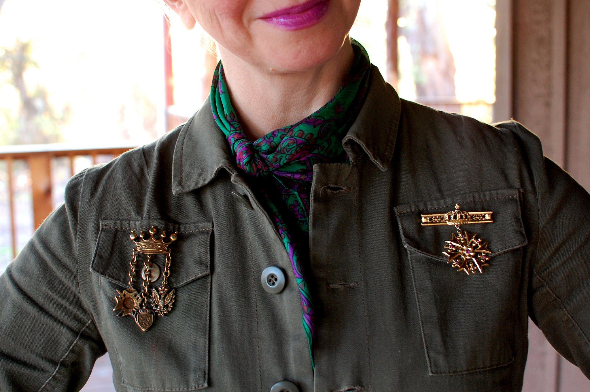 daily outfit blog olive jacket faux military medal brooch neck scarf daily outfit blog ootd whatiwore2day