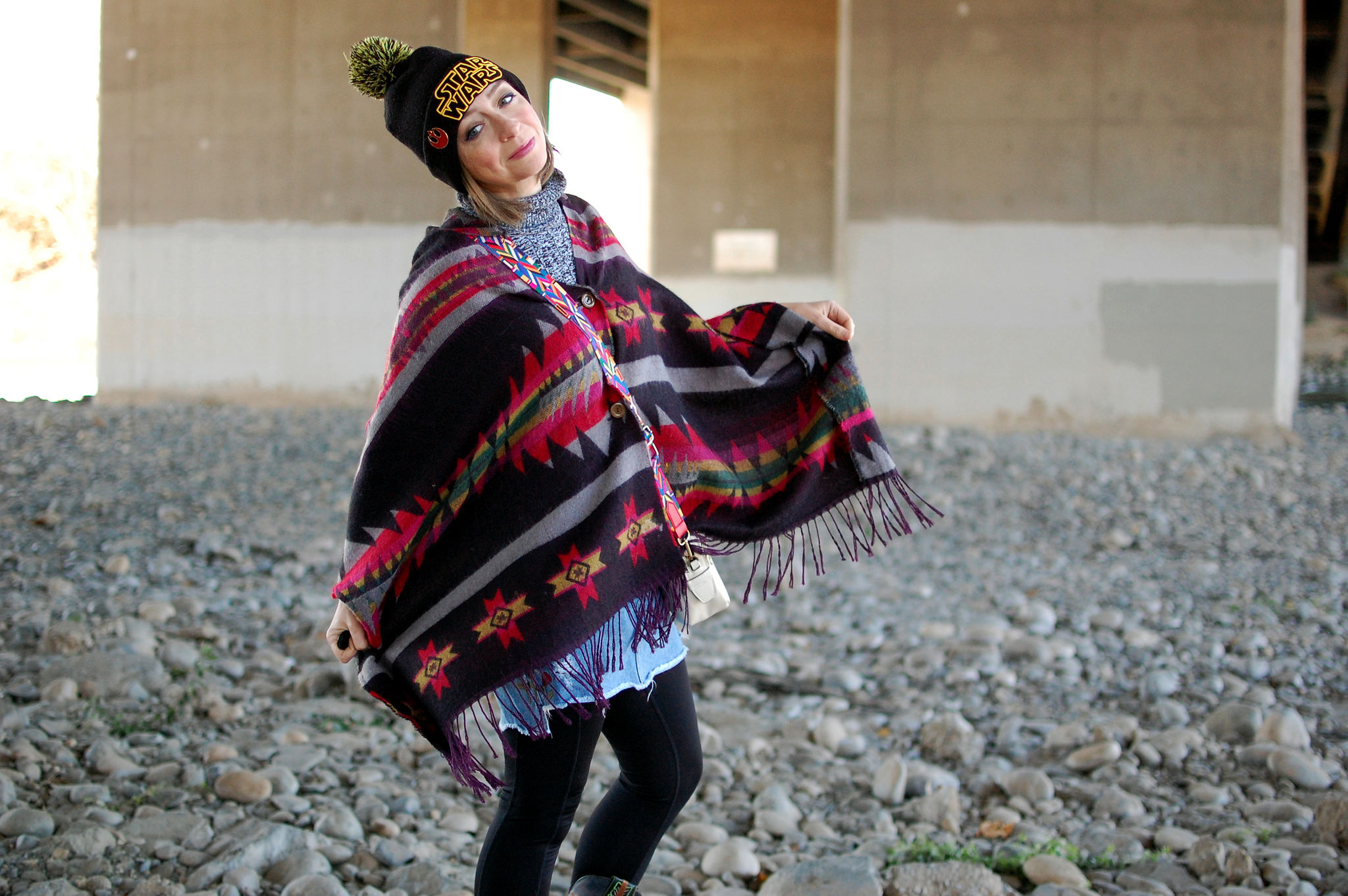 aztec southwestern poncho star wars beanie ootd daily outfit blog whatiwore2day