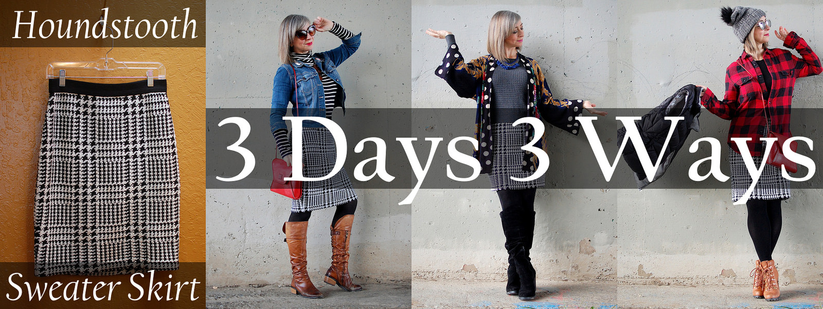 remix 3 days 3 ways daily outfit blog ootd whatiwore2day houndstooth sweater knit skirt
