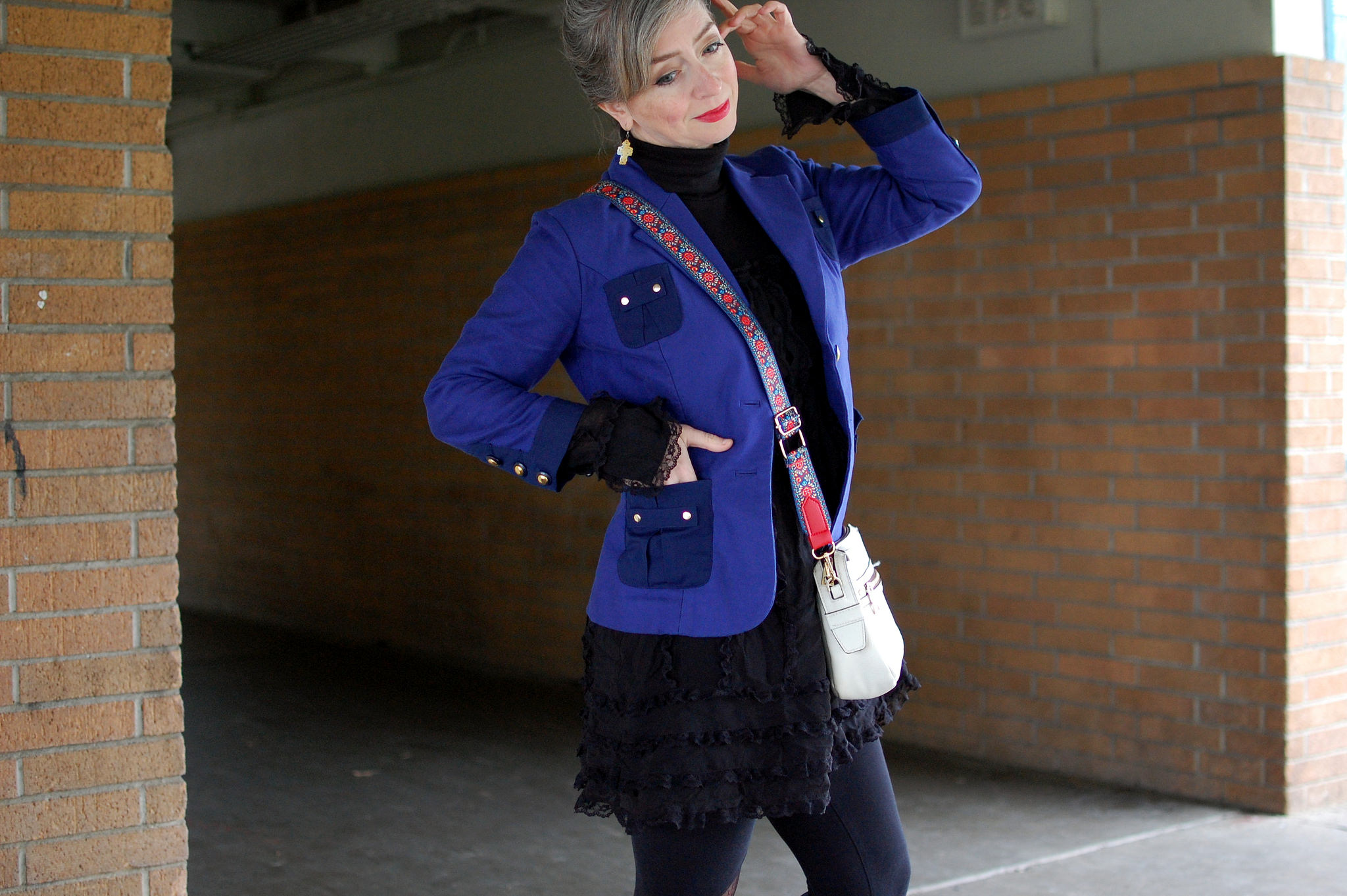 sheer ruffled babydoll dress blue blazer daily outfit blog whatiwore2day ootd