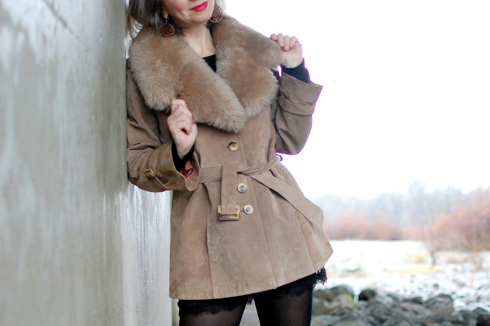 faux fur suede vintage jacket daily outfit blog ootd whatiwore2day