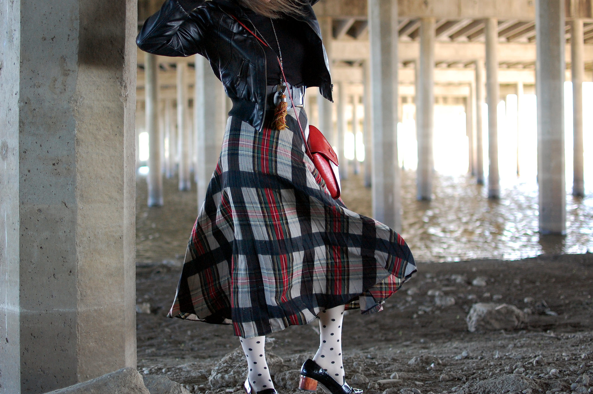plaid skirt polka dot tights daily outfit blog ootd whatiwore2day