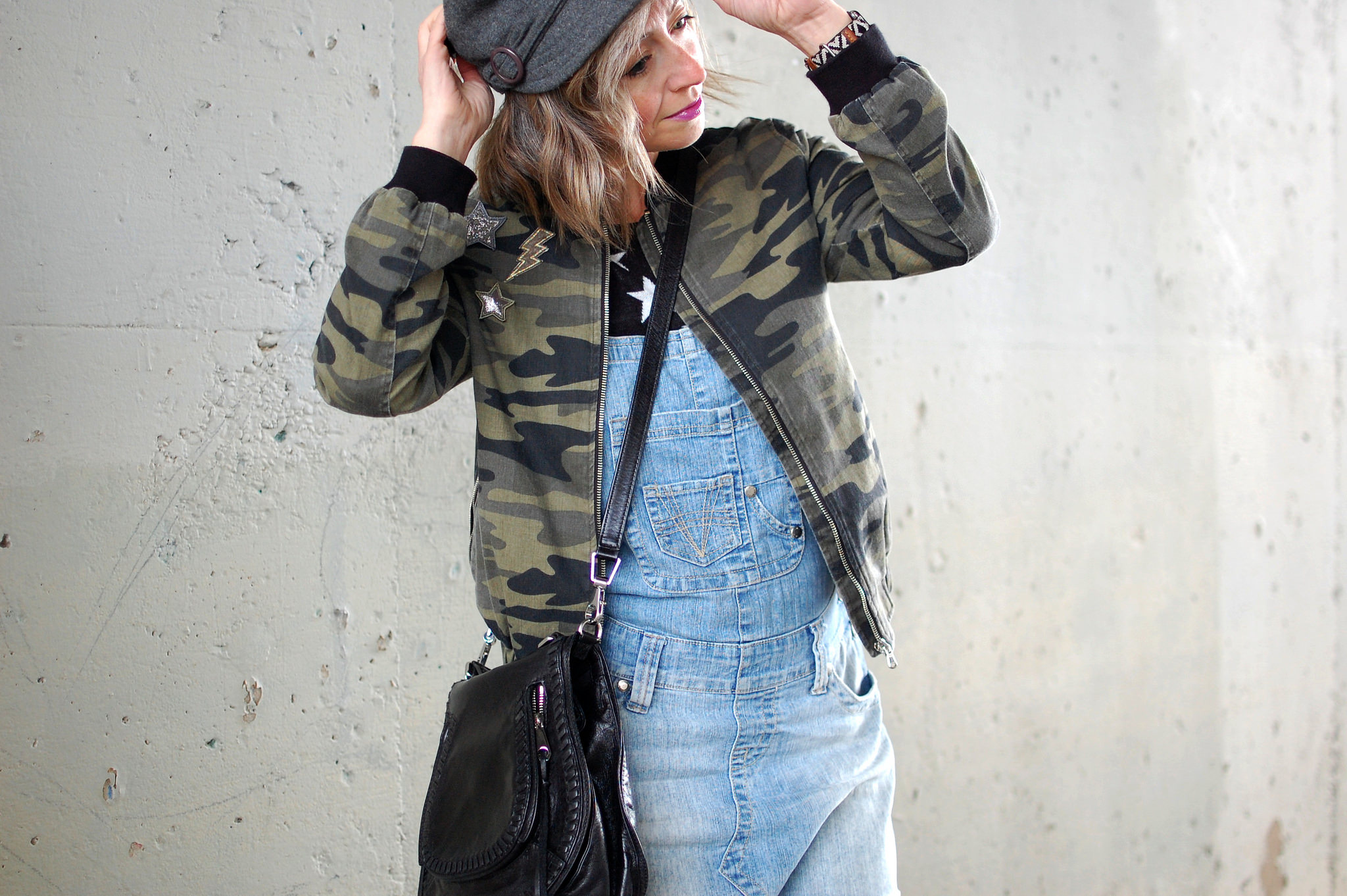 camo patch jacket overall dress daily outfit blog ootd whatiwore2day