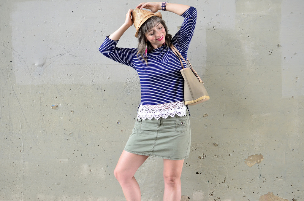crochet fringe breton top straw hat olive skort casual ootd daily outfit blog whatiwore2day