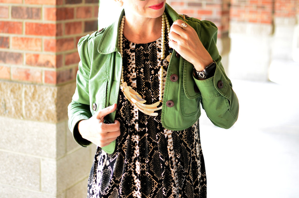 snake print trapeze dress cropped trench jacket parrot shell necklace whatiwore2day daily outfit blog ootd