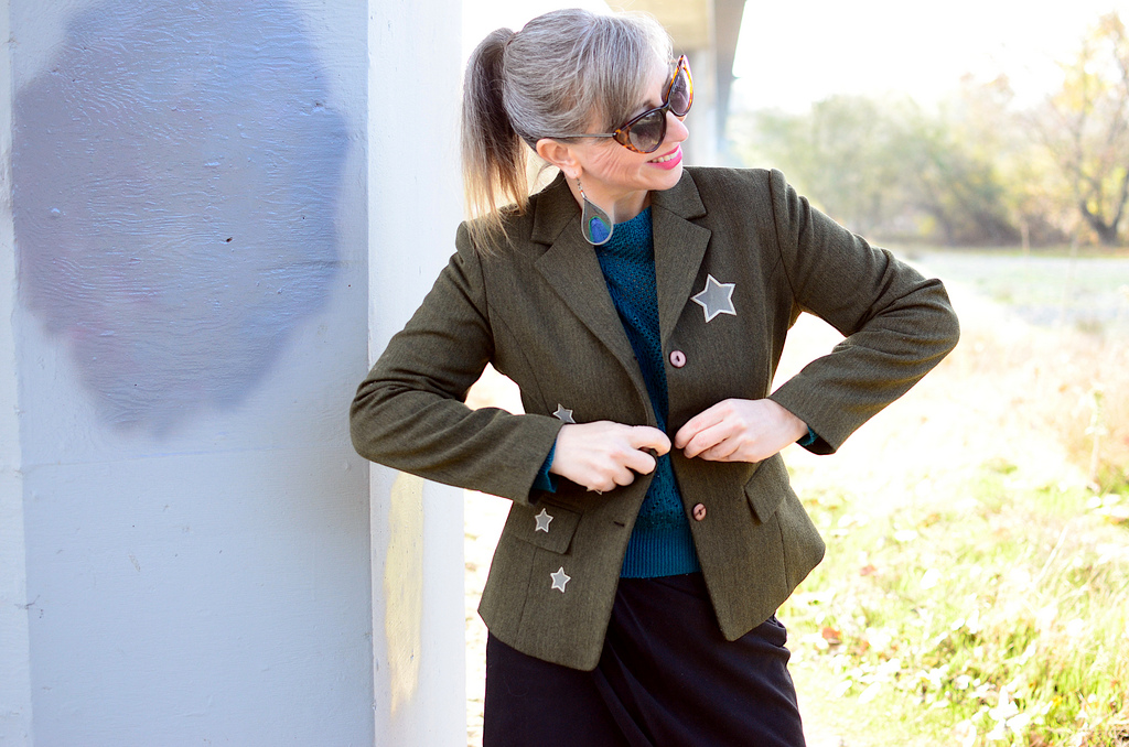olive military blazer stars daily outfit blog ootd whatiwore2day