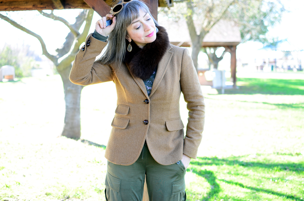 1841dc9f3bfb over forty daily outfit blog khaki wool tweed blazer silk jogger pants ootd  whatiwore2day