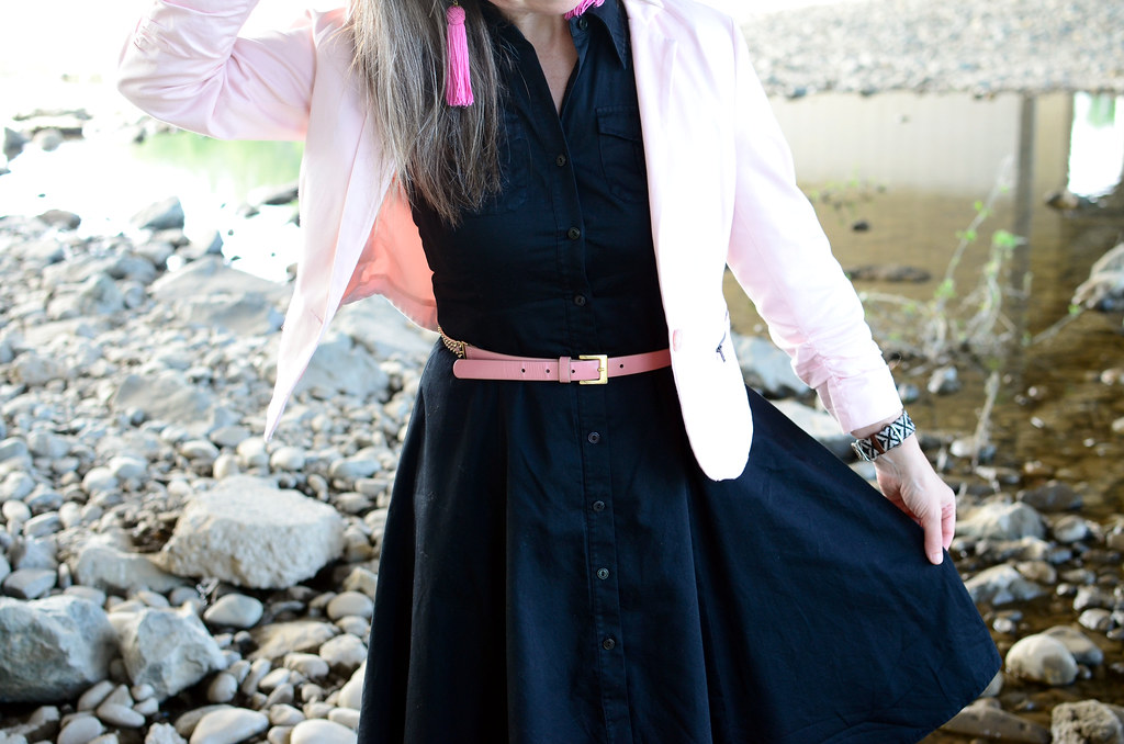 bed955304fe13 over 40 daily outfit blog blush blazer black shirt dress pink tassel  earrings ootd whatiwore2day business